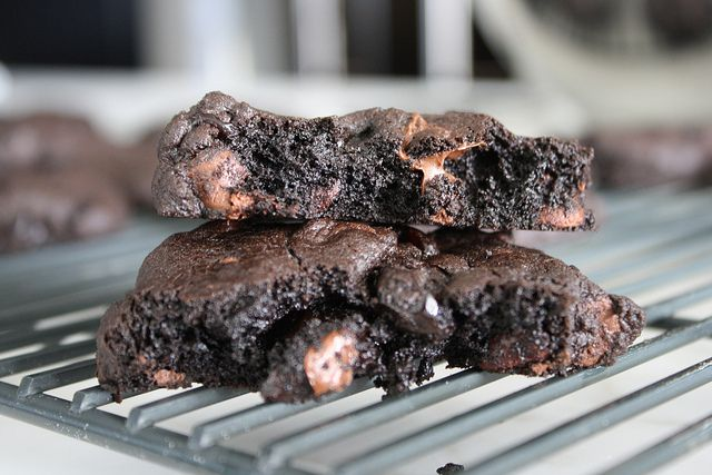 Nutella and dark chocolate cookies with sour cherries.... Yes please ...