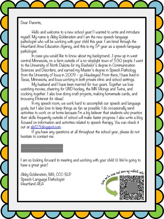 ... Talk!: Back to School Week: SLP Introduction Letter for Parents