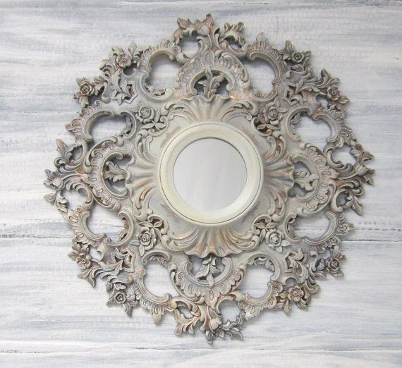 Decorative vintage mirrors for sale gray ornate round oval for Decorative wall mirrors for sale
