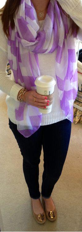 purple scarf and tory flats