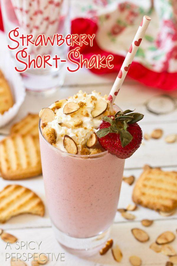 Strawberry Shortcake Milkshake with recipe link