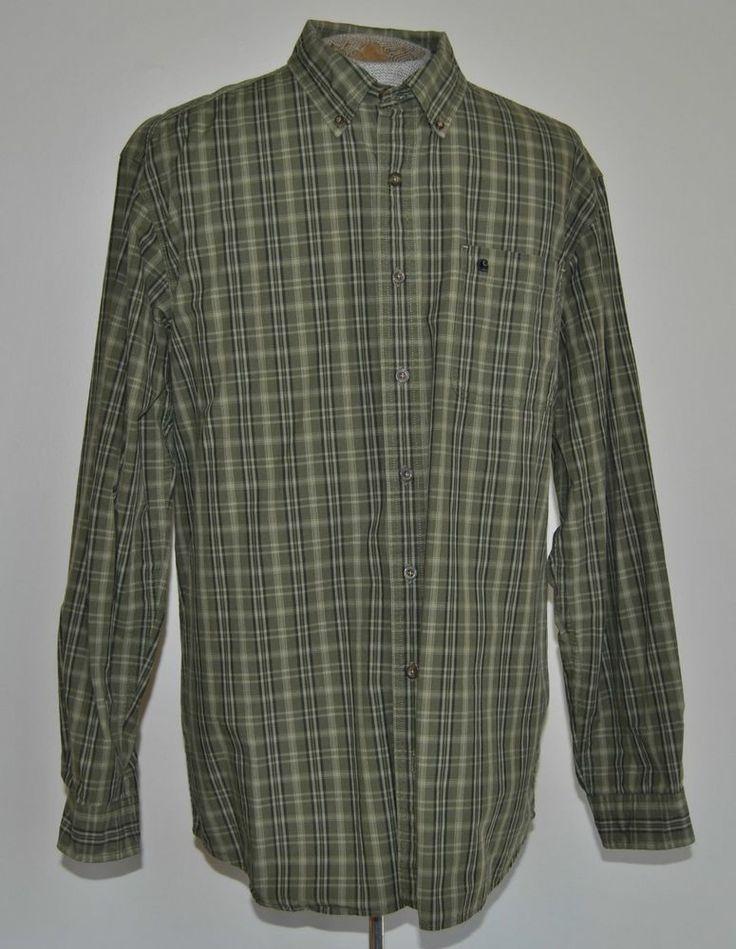 Men S Size Xlt Carhartt Green Plaid 100 Cotton Dress
