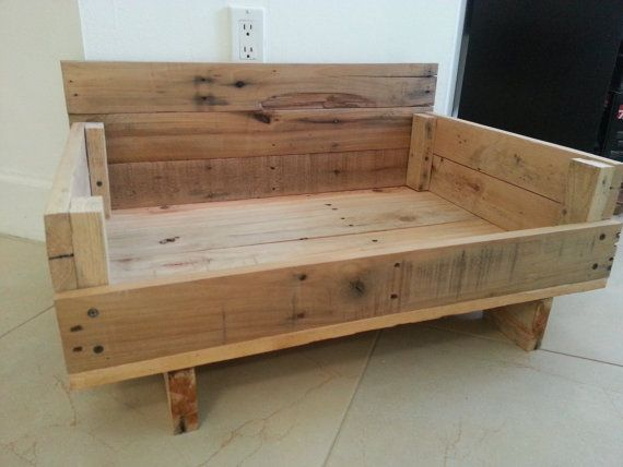 Reclaimed wood dog bed mission style for Wood dog bed furniture