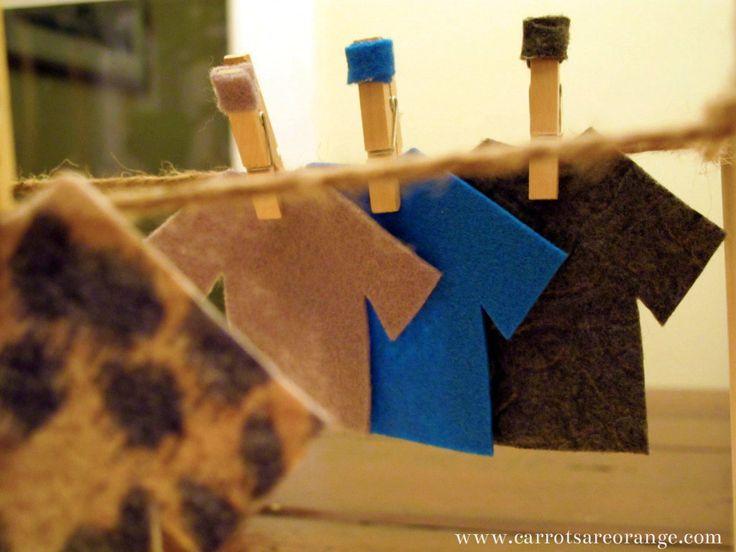 Mini-clothesline fine motor skills activity for preschool
