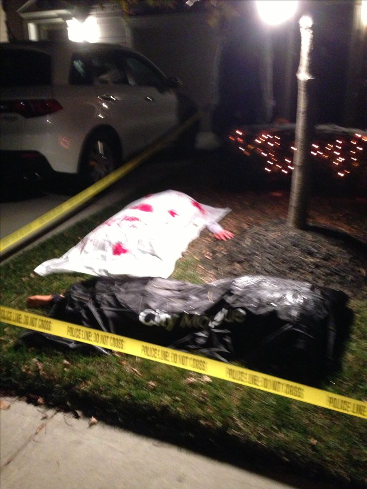 Nighttime front yard halloween crime scene halloween for Scene ideas