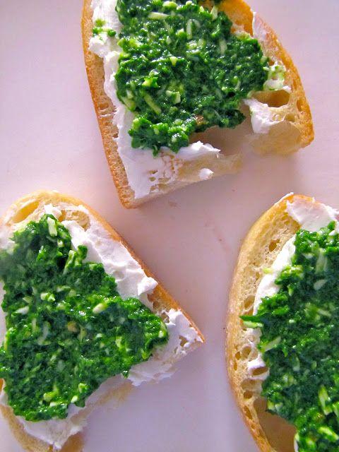 Arugula Pesto-Goat Cheese Crostini   Recipes   Pinterest