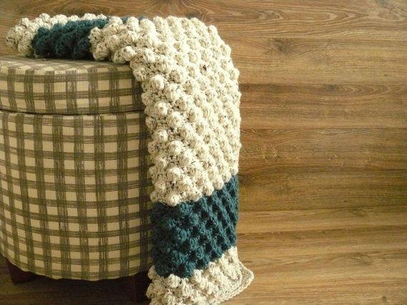 Modern Crochet Patterns For Baby Blankets : Modern Baby blanket - Oatmeal tweed, navy blue, crochet ...