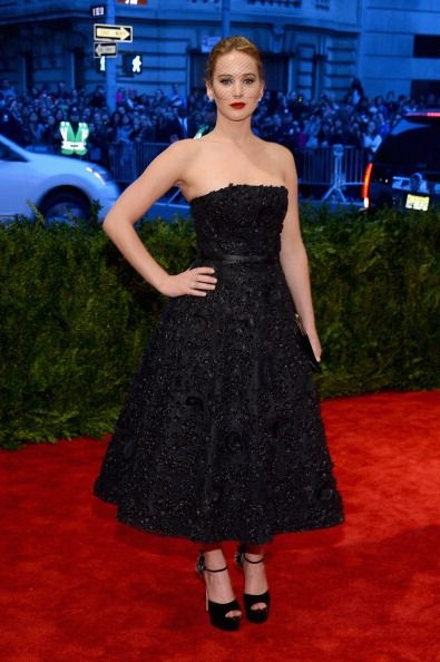 Jennifer Lawrence in black Dior and the iconic veil at the Met Gala 2013