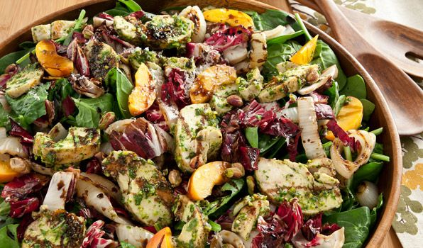 Grilled Chicken Salad with Radicchio and Spinach, nuts, balsamic ...