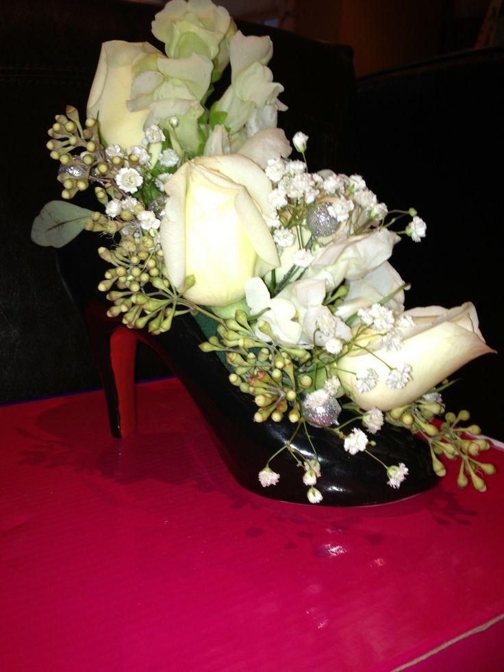 ceramic high heel shoe vase centerpiece and table decor