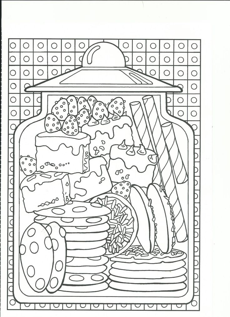 Gourmandises   coloring for grown ups   Pinterest   Adult coloring ...