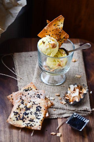 blissful eats with tina jeffers: Pina Colada Sorbet with sesame crisps
