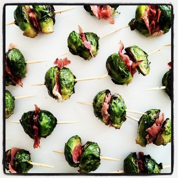 Brussels Sprout Bites! (sub in sun-dried tomatoes for prosciutto)