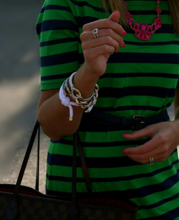 preppy stripes and a statement necklace