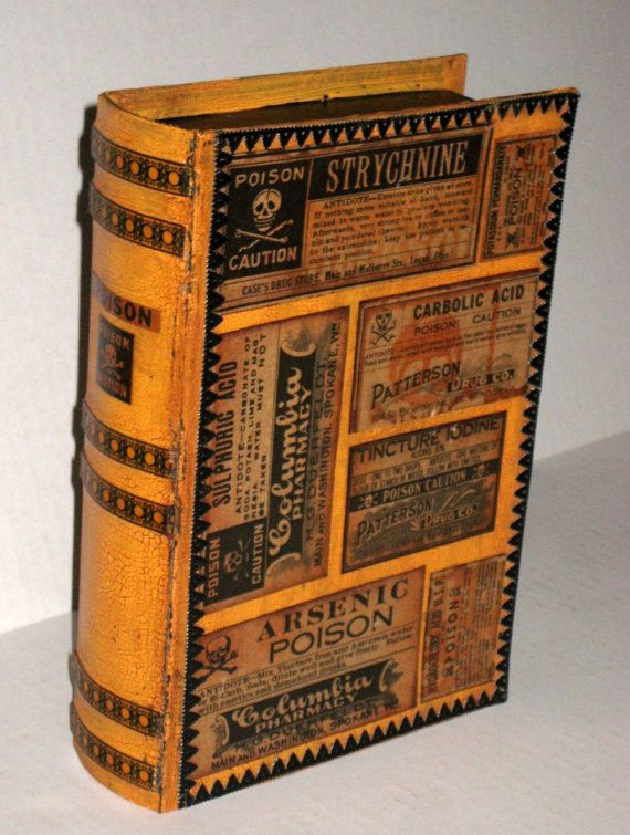 Paper Mache Book Cover : Halloween paper mache book shaped candy box