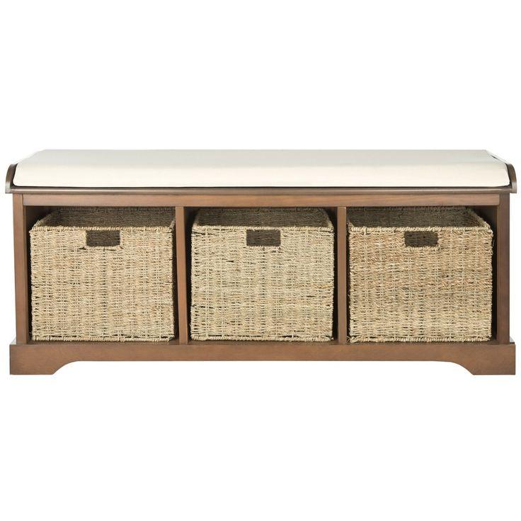Safavieh lonan walnut white storage bench overstock com