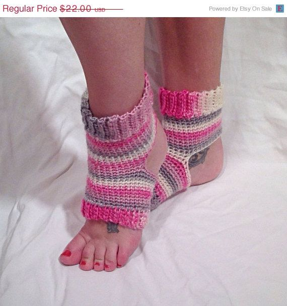 Crochet Yoga Socks : Pink Striped Wool Crochet Yoga Socks by DapperCatDesigns on Etsy, $19 ...