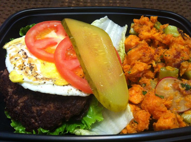 "Lettuce wrapped burger with sweet potato ""potato salad"""