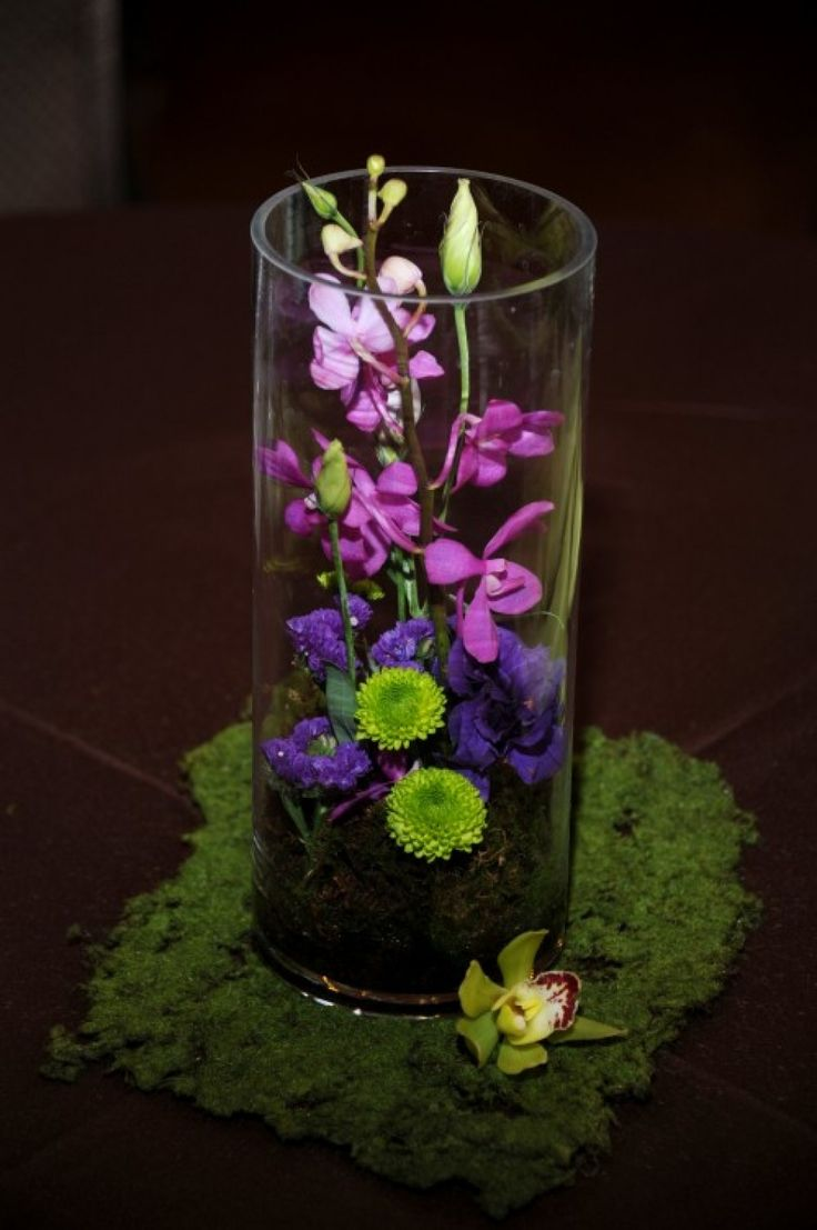 Purple and green terrarium centerpiece wedding