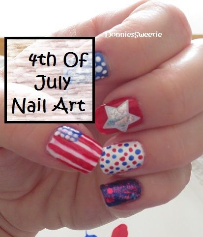 4th of july nail art pedicure