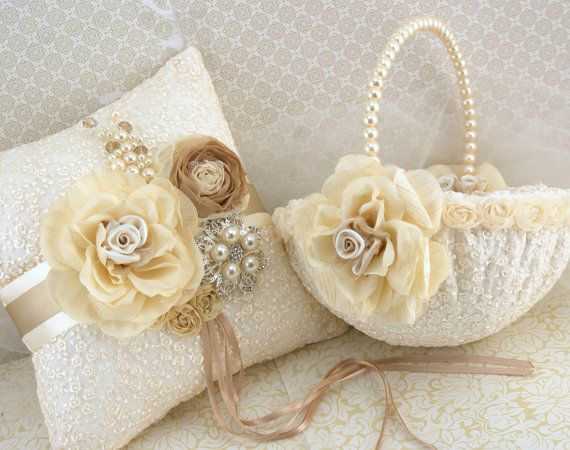 Bridal Ring Bearer Pillow And Flower Girl Basket Set In Ivory And Cha