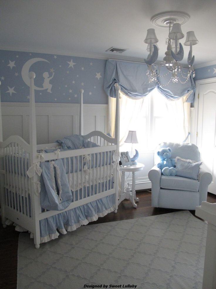 This baby #blue #nursery is so sweet!