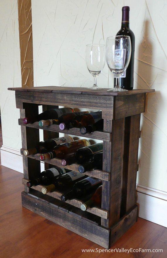 Dark pallet wood 12 bottle wine rack floor or counter top for Pallet wine cabinet