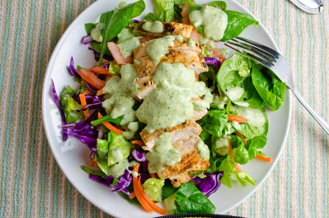Grilled Chicken Salad w/ Mexican Roasted Jalapeno Dressing