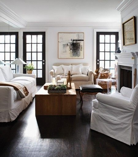 White Walls, Wood Floor, Black Doors