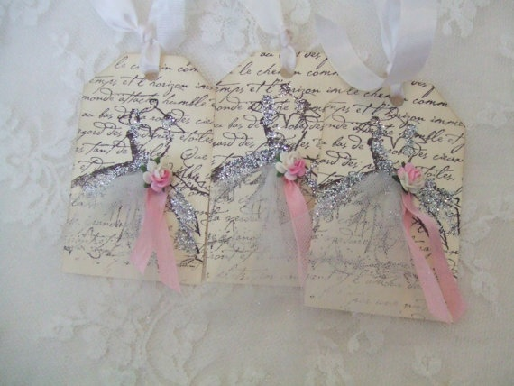 Wedding Favor Hang Tags : Wedding Favor Hang Tags Vintage Dress Tags Hand Stamped French Script ...