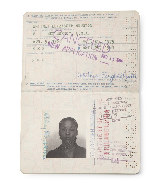 Whitney Houston's passport