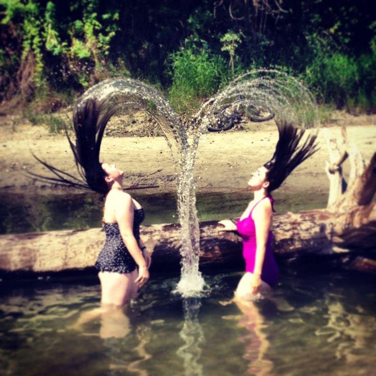 heres parody water hair flip photos