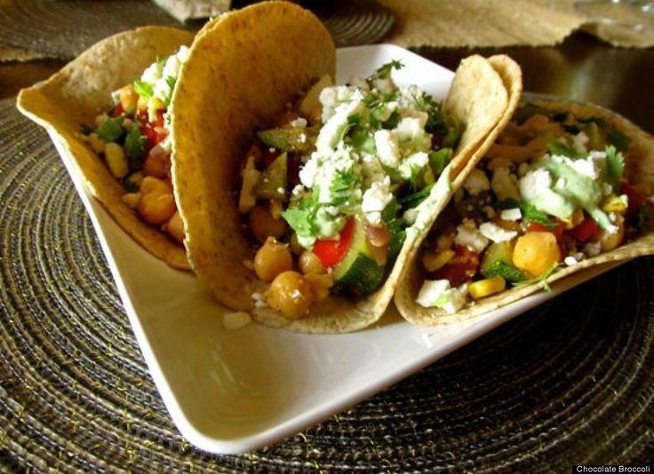 Greek Yogurt Recipes- Roasted Veggie Tacos with Avocado Cream recipe