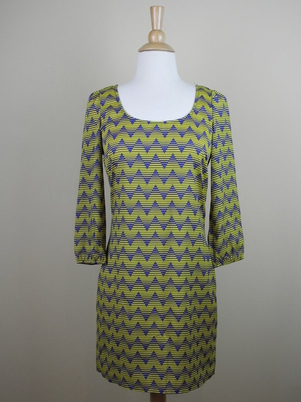 Yellow and Blue 3/4 Sleeve Dress with Zip Up Back - $36.00 : FashionCupcake, Designer Clothing, Accessories, and Gifts