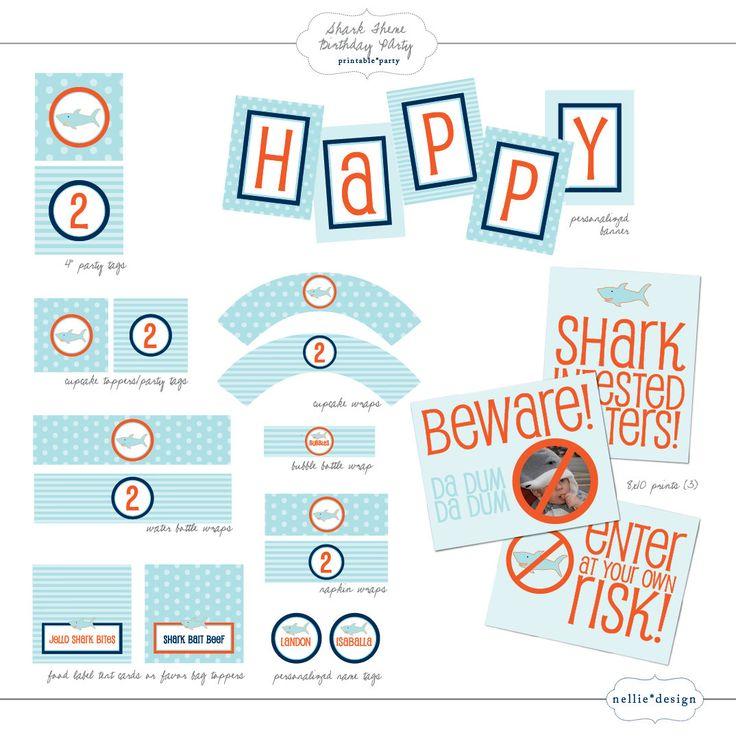 DIY Printable Shark Theme Birthday Party Package. $20.00, via Etsy.