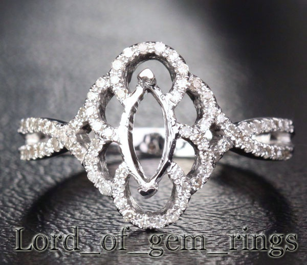 Marquise cut 14k white gold 25ct diamond ring settings