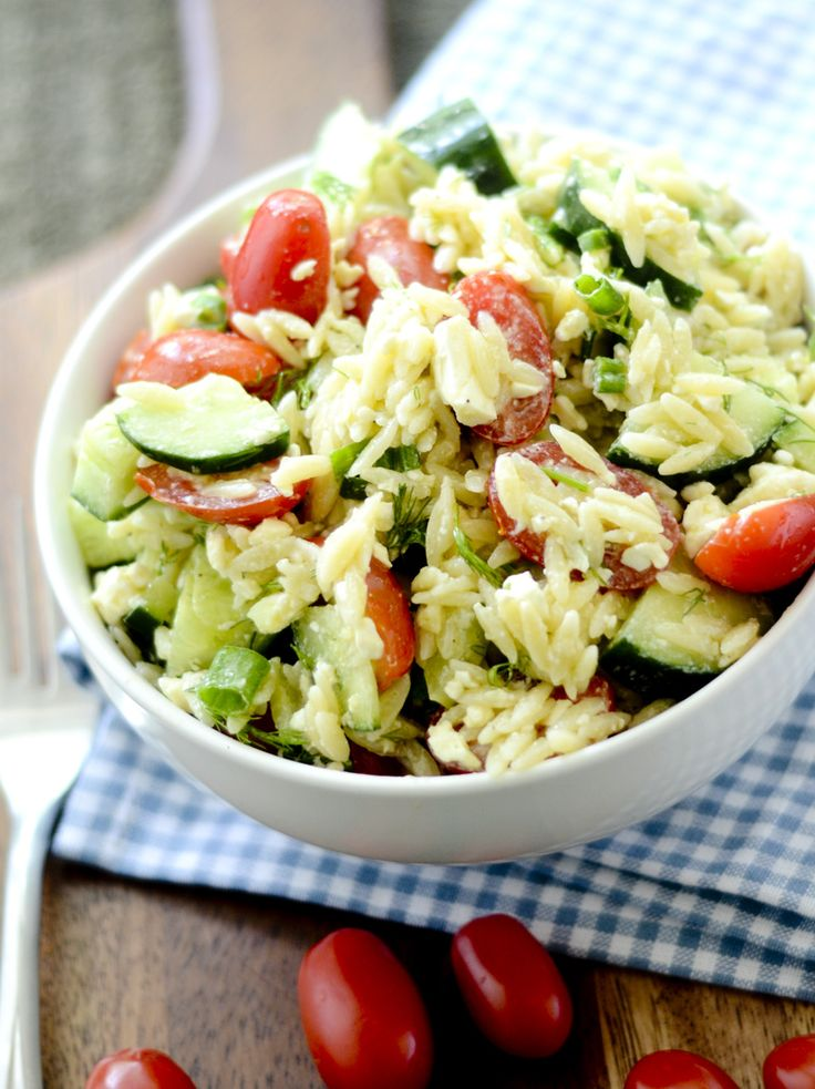 Greek Orzo Salad with Mustard-Dill Vinaigrette Bobby Flay - Recipe ...
