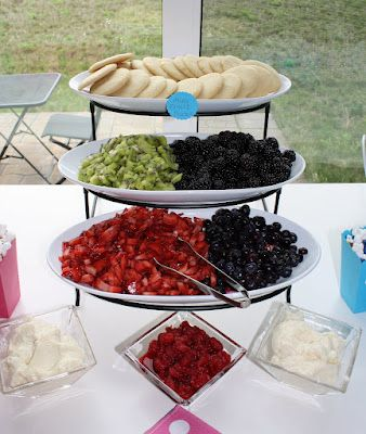 """Fruit pizza bar: sugar cookies, lots of fruit, and the cream cheese/frosting """"sauce."""""""