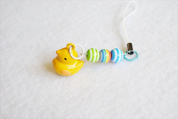 Kawaii Yellow Ducky Phone Charm by CapricaAccessories on Etsy, $5.50