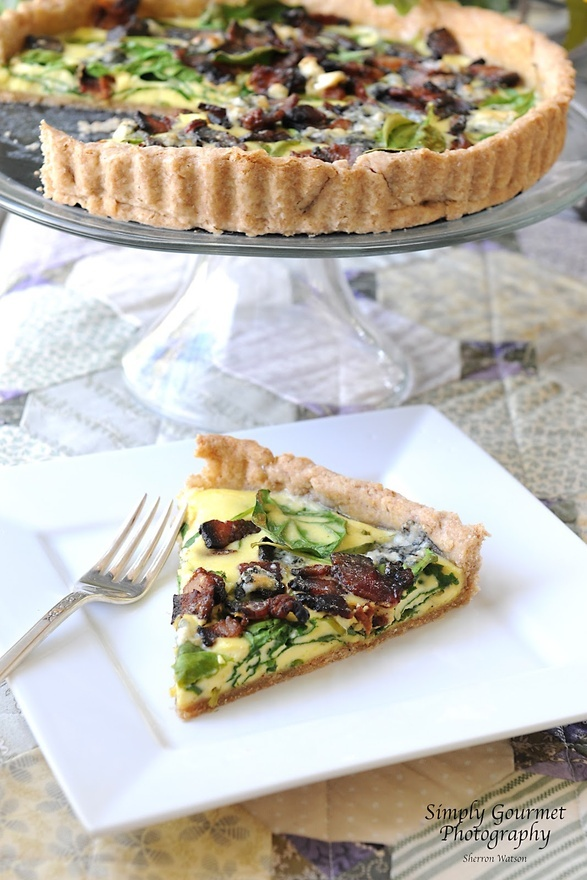 ... Simply GourmetSpinach, Blue Cheese and Bacon Quiche with a Spelt Crust