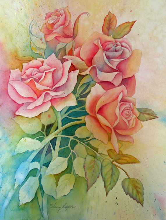 Watercolor painting of roses done in a negative painting for How to paint a rose in watercolour