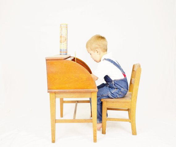 Chairs For Kids For Kids And Chairs On Pinterest Antique Kid Roll Top Desk and Chair Child by LuccaBalesVintage, $175 ...