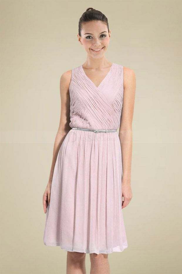 enticing light pink a line bridesmaid dress with silver belt
