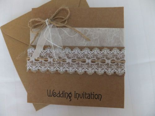 Betsy Button wedding invite. Vintage lace and buttons.