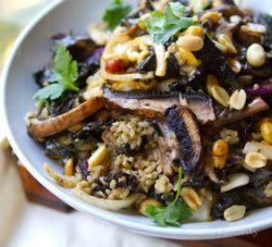 Spicy Peanut Portobello Kale Rice Bowl recipe- made with recipe for ...