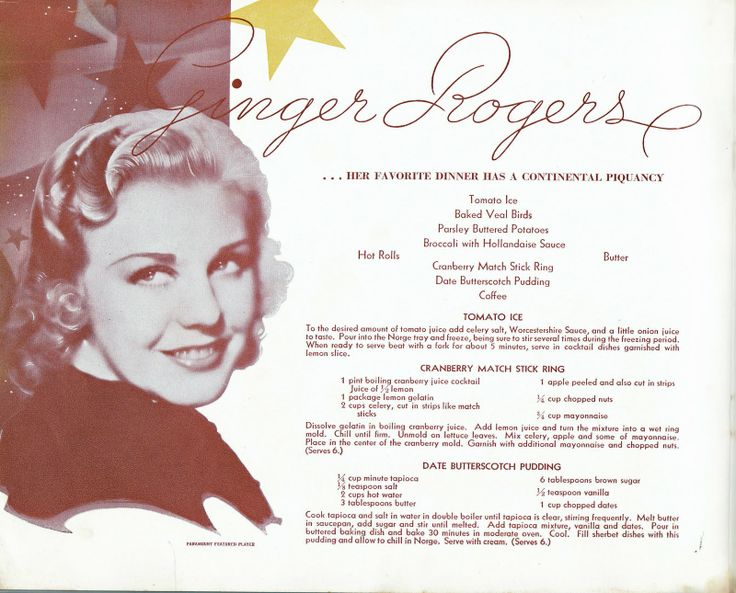 "ginger rogers...""her favorite dinner has a continental piquancy"""