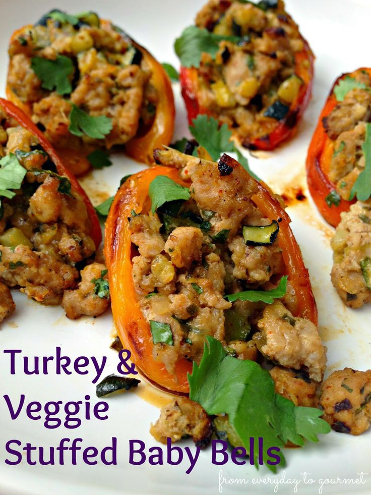 Turkey and Veggie Stuffed Baby Bell Peppers