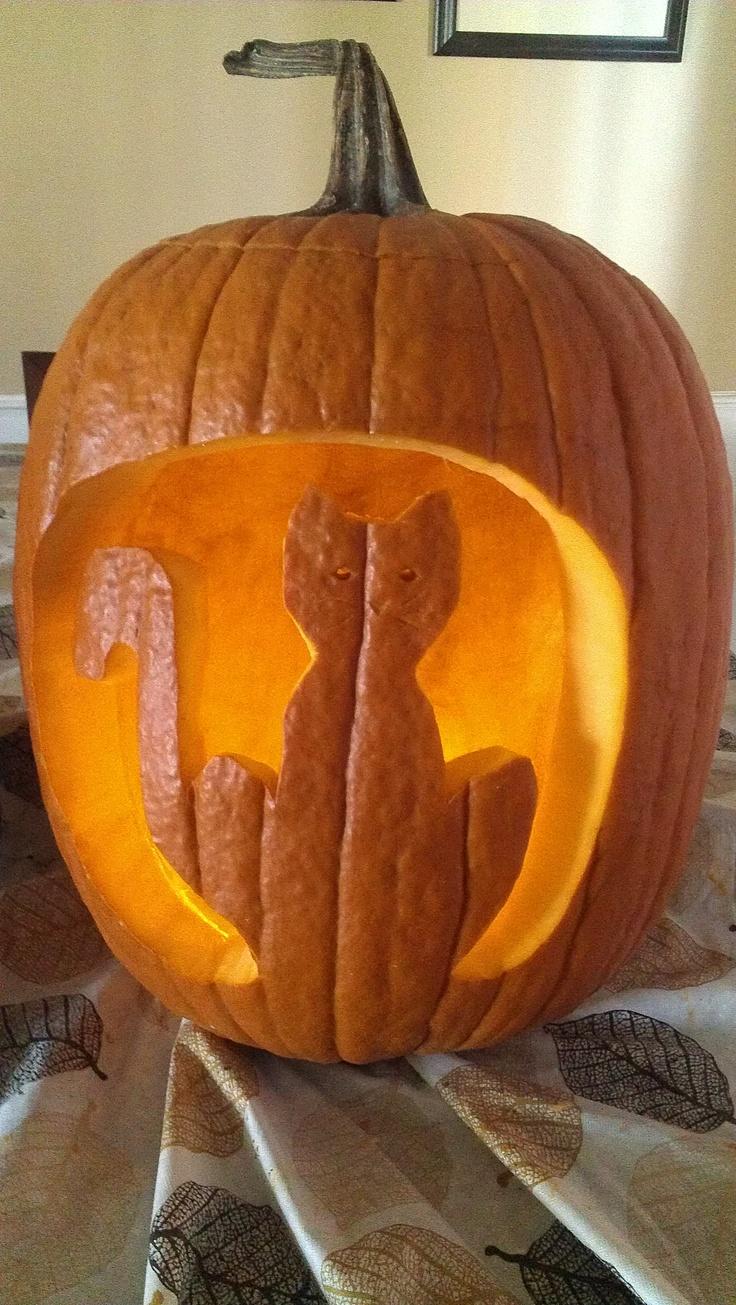 Cat pumpkin carving halloween pinterest for Pumpkin kitty designs
