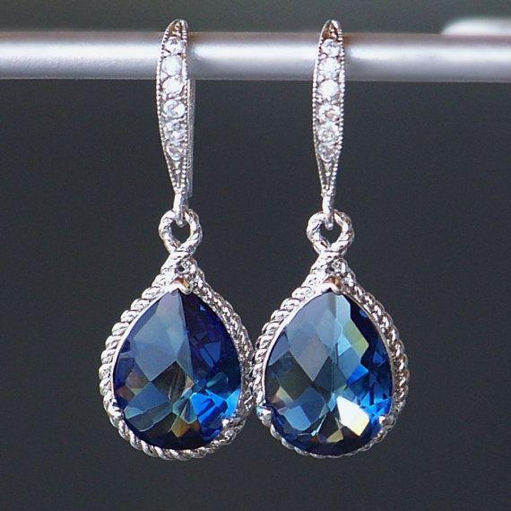 Sapphire Blue Crystal Teardrop Earrings in by CJRoseBoutique, $38.00