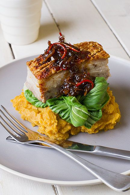 Pork Belly with Caramelised Chilli Sauce, Kumara and Bok Choy